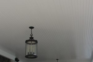 Balcony ceiling covered with PVC beadboard