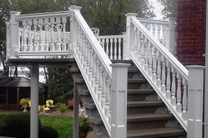 PVC railing, Vintage baluster, with recessed panel newel posts