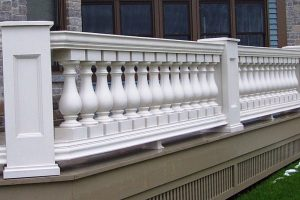 Polyurethane railing, baluster with polyurethane recessed panel newel posts